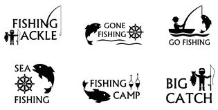 Insieme di simboli di pesca Fotografia Stock