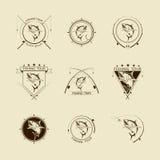 Insieme di simboli di pesca di vettore Immagini Stock Libere da Diritti