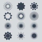 Insieme di simboli di Sun Illustrazione di vettore Natute Immagini Stock Libere da Diritti