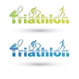 Insieme di simboli di triathlon di vettore Fotografia Stock