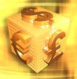 Insieme di simboli di valuta su una scatola di superficie dorata Immagine Stock