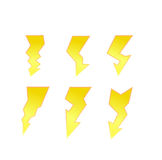 Insieme di simboli di vettore di icone di illuminazione di tuono Immagini Stock