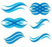 Insieme di simboli di Wave, vettore Fotografia Stock