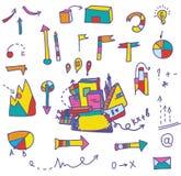 Insieme di simboli e delle frecce - disegnato a mano Immagine Stock