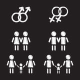 Insieme di simboli gay della famiglia Immagini Stock Libere da Diritti