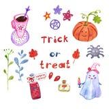 Insieme di simboli magico dipinto a mano di Halloween su fondo bianco, isolato Stile sveglio del fumetto illustrazione vettoriale