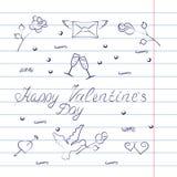 Insieme di simboli per il San Valentino con effetto del quaderno Fotografie Stock Libere da Diritti