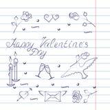 Insieme di simboli per il San Valentino con effetto del quaderno Fotografia Stock