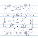 Insieme di simboli per il San Valentino con effetto del quaderno Immagine Stock