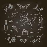 Insieme di simboli per il San Valentino con effetto della lavagna Fotografia Stock Libera da Diritti
