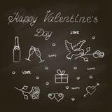 Insieme di simboli per il San Valentino con effetto della lavagna Immagine Stock Libera da Diritti
