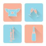 Insieme di simboli per il San Valentino nello stile del piano Fotografia Stock Libera da Diritti