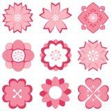Insieme di simboli rosa del fiore Immagine Stock