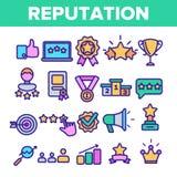 Insieme di simboli sottile delle icone di vettore lineare di reputazione illustrazione di stock