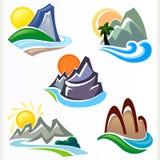 Insieme di simbolo astratto delle colline e della montagna Immagini Stock