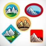 Insieme di simbolo astratto delle colline e della montagna Fotografia Stock