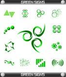 Insieme di simbolo verde del segno Fotografie Stock