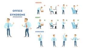 Insieme di sindrome dell'ufficio royalty illustrazione gratis