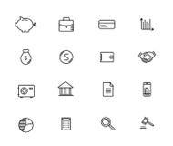 Insieme di soldi e di finanza, linea icone di vettore Fotografia Stock Libera da Diritti