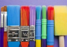 Insieme di spazzole degli artisti. Fotografie Stock