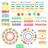 Insieme di spazzole geometrico dell'acquerello Stile del bambino Fotografia Stock Libera da Diritti