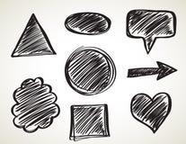 Insieme di spazzole nero di arte dell'inchiostro di vettore Colpi della pittura di lerciume Fotografia Stock