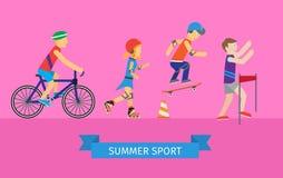 Insieme di sport dell'uomo e della donna che vanno dentro per lo sport illustrazione vettoriale