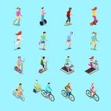 Insieme di sport isometrico della gente Gente corrente, ciclista sulla bicicletta, forma fisica della donna, donna sul pattino Fotografia Stock