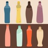 Insieme di stile della bottiglia Fotografia Stock