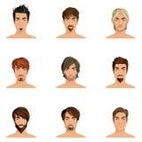Insieme di stile di capelli dell'uomo Fotografia Stock Libera da Diritti