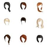 Insieme di stile di capelli della ragazza Immagini Stock