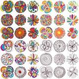 Insieme di stile di colori dei fiori Fotografia Stock