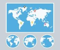 Insieme di stile di Infographic della mappa di mondo Fotografie Stock Libere da Diritti