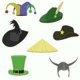 Insieme di stile piano dei cappelli di carnevale Immagini Stock