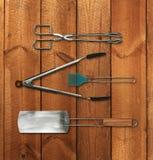 Insieme di strumenti del barbecue Fotografia Stock