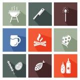 Insieme di strumenti del barbecue e della griglia illustrazione vettoriale