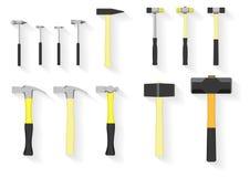 Insieme di strumenti strumenti del martello su fondo bianco Immagini Stock