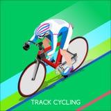 Insieme di Summer Games Icon dell'atleta del ciclista del ciclista della pista Concetto di riciclaggio di velocità della pista Immagini Stock Libere da Diritti