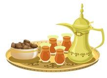 Insieme di tè arabo con le date 2 Immagine Stock