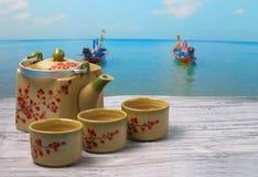 Insieme di tè asiatico Fotografia Stock