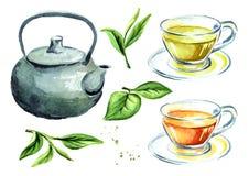 Insieme di tè con il vaso, le tazze e le foglie di tè verdi Illustrazione disegnata a mano dell'acquerello, isolata su fondo bian Fotografie Stock Libere da Diritti
