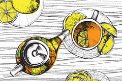 Insieme di tè disegnato a mano di vettore di schizzo Fotografia Stock Libera da Diritti