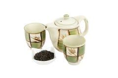 Insieme di tè su priorità bassa bianca Immagini Stock