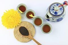 Insieme di tè su priorità bassa bianca Fotografia Stock Libera da Diritti