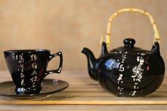 Insieme di tè sulla tabella Fotografia Stock Libera da Diritti