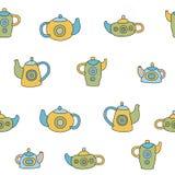Insieme di tè sveglio Modello senza cuciture di vettore variopinto Immagini Stock Libere da Diritti