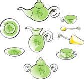 Insieme di Teaware illustrazione di stock