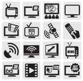Insieme di tecnologia della TV Fotografie Stock Libere da Diritti