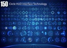 Insieme di tecnologia digitale UI HUD Virt futuristico dell'estratto del cerchio illustrazione vettoriale