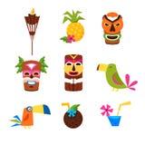 Insieme di tema delle Hawai delle icone Fotografia Stock Libera da Diritti